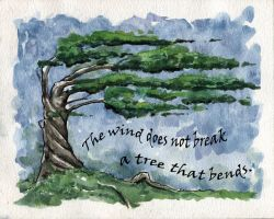 BEND inspirational quote art watercolor tree by art-hack