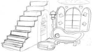 fluttershys cottage living room back staircase by ExcentricSketches4U