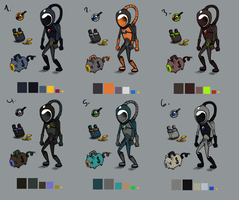 Character color schemes by Nakubi