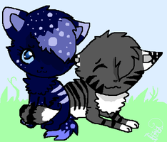 Snowpelt And Greyheart by spottedtail223