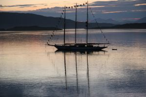 Schooner at sunset by drkenw