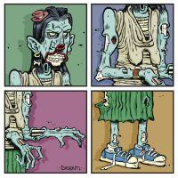 Zombie Lady in a Tiny Hat by thegreck