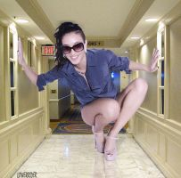 Minigiantess is Las Vegas hotel hallway by lowerrider