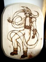 Cloud Strife woodburning by Nummonkee
