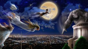 Flight Over the City Lights by jesus-at-art