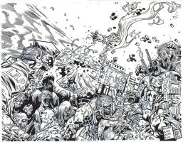 Deadpool Vs Zombie Apocolypse - WAR - Egli - Inks by SurfTiki