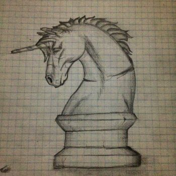 Unicorn Chess Piece- Old Art Piece (graphpaper) by DanBakerDesign