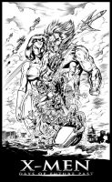 X-men: Age of Days of Future Past inks by CdubbArt