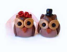 Cute Owl Couple Cake Topper by DeadLulu