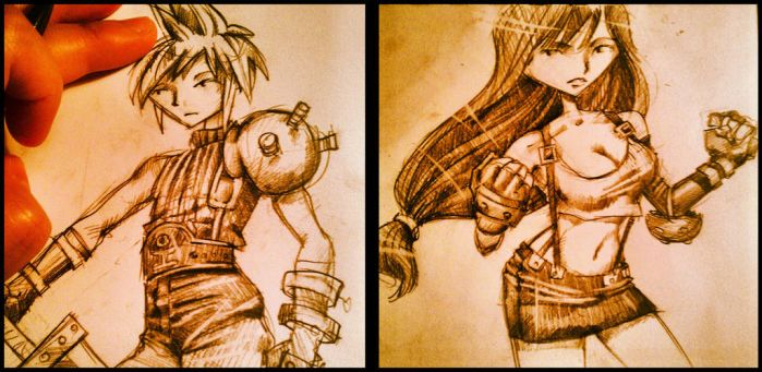 Cloud and Tifa sketches by Gimmeswords