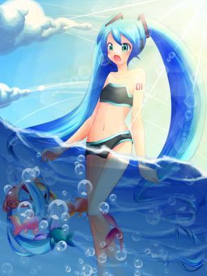Miku and the sea by ametotaiyou