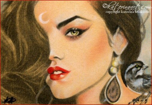 The witch and the sparrow ACEO by Katerina-Art