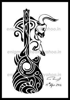Music + Taurus ( tribal Tattoo) by enigmatic-freak