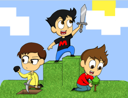 Minecraft with Mark, Bob, and Wade by SilverSapphire495
