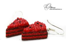 Earrings Cherry Cake by OrionaJewelry