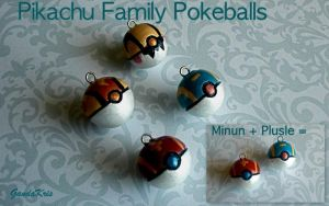 Pikachu Family Pokeballs by GandaKris