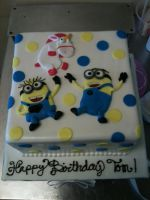 Minions and a Fluffy Unicorn Cake by Spudnuts