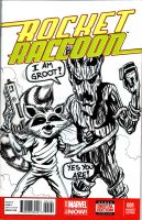 Rocket Racoon Sketch Cover by hdub7
