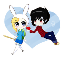 Chibi Commission Marshall lee and fiona by Exceru-Hensggott