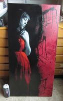 Red Dress canvas by snikstencilstuff