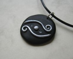 Black and Silver Fantasy polymer clay pendant by WindySunset