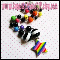 Rainbow Rave Star Necklace by SugarAndSpiceDIY