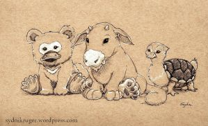 Baby Platypus Bear, Etc. by sydniart