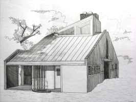 pen drawing house by wwei