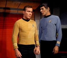 Spock and Jim, holding hands on the Bridge. by spock2u