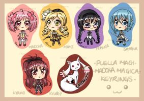 Puella Magi Keyrings by Chao-Illustrations