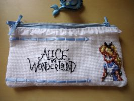 Cross stitch Alice in Wonderland pencil bag by Miloceane