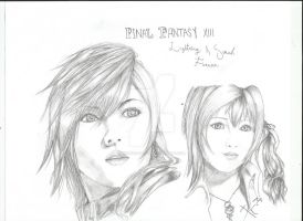 Final Fantasy XIII Lightning And Serah by XCross-FateX