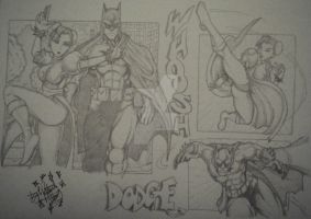 Chun li and batman_pencil_2011 by PatrickOlsen