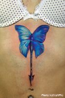 butterfly-arrow tattoo by NikaSamarina
