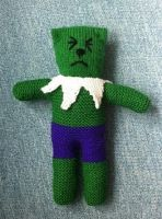 Incredible Hulk Knitted Teddy by sfxbecks