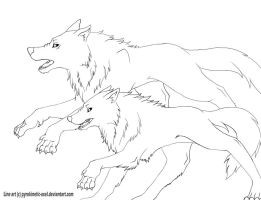 Running wolves -lines- by tachilotl