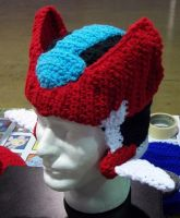 crochet Mega Man ZX hat by BunnieBard