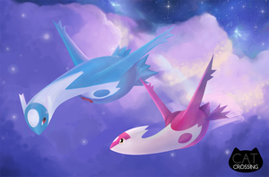 Night Flight: Latios and Latias by CatCrossing