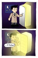 Cas vs The Fridge by blackbirdrose