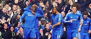 Demba Ba with his team mates celebrating the goal by DONICFC