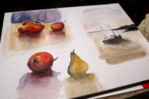 Boat and Apple study by guilhem-sals