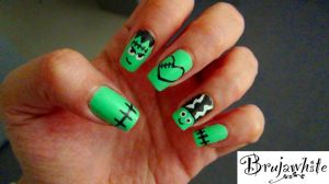 Alphabet nail art challenge: F is for Frankenstein by Brujawhite