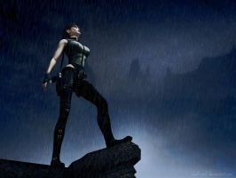 Lara Croft In The Rain by Halli-well