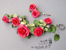 Bracelet Rose and Hydrangea by polyflowers