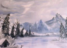 Iced Over Blue Lake by MisssBarbie