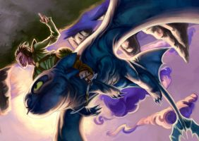Hiccup and Toothless in Flight by Deputee
