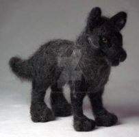 Needle Felted Gray Wolf by The-GoblinQueen