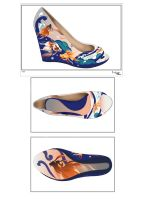Koi Pattern on Wedge (side and sole) by paulinatj