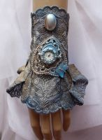 Blue patina watch cuff by Pinkabsinthe