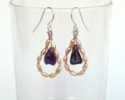 Amethys and pearl earrings E1051 by Fleur-de-Irk